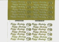 1 Bogen Sticker - gold -  Schriftzüge Happy Birthday